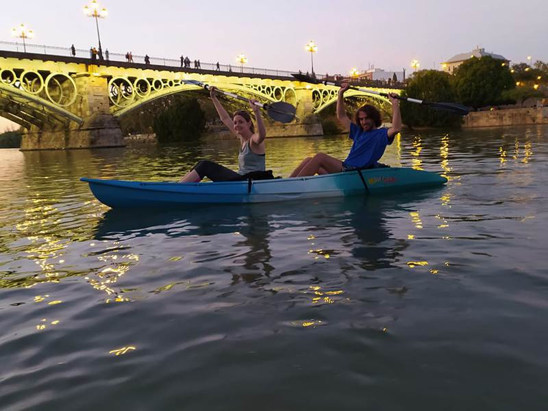 Kayaking on the Guadalquivir in the Seville's historic centre