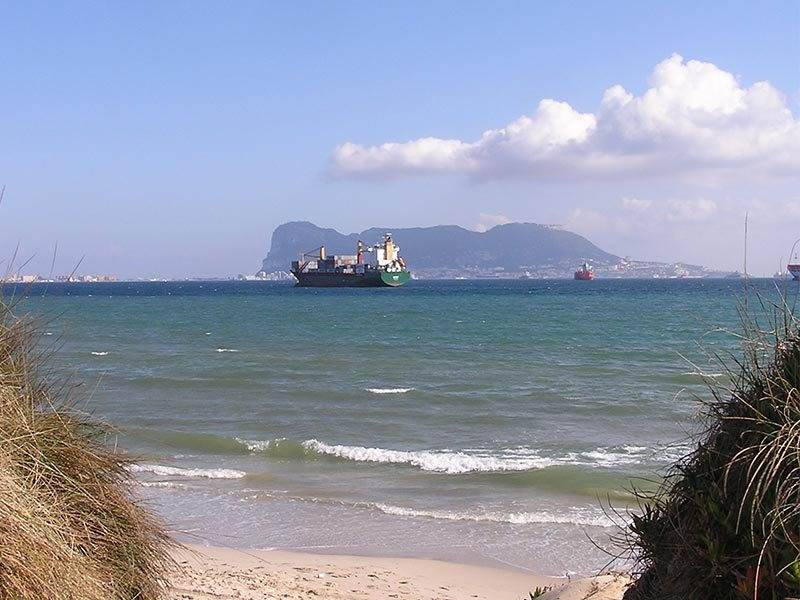 View of Gibraltar from Rinconcillo Beach Algeciras