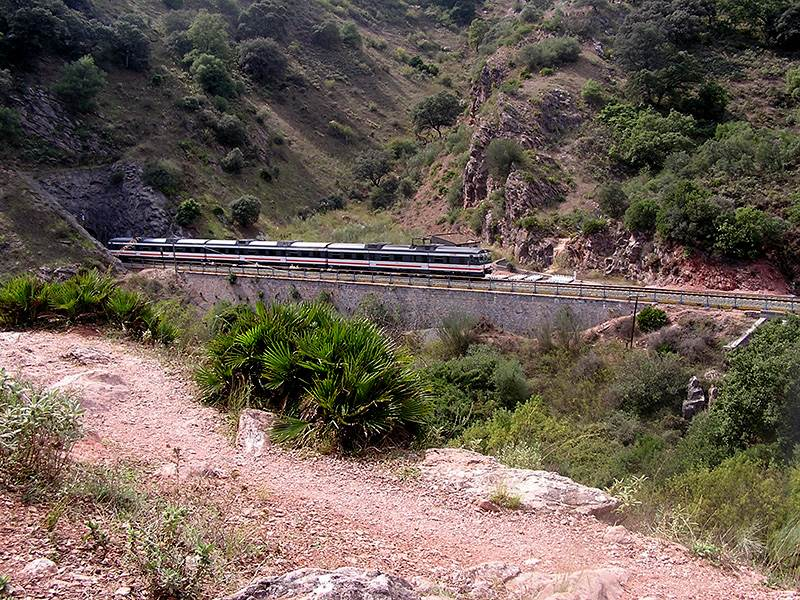 Train emerging from tunnel