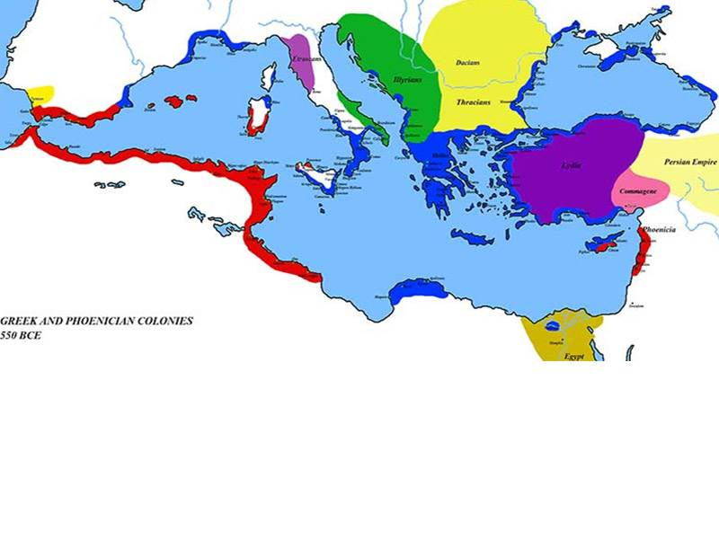 Greek and Phoenician colonies 550BCE