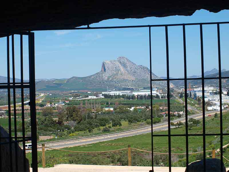 Peña de los Enamorados as seen from Menga corridor